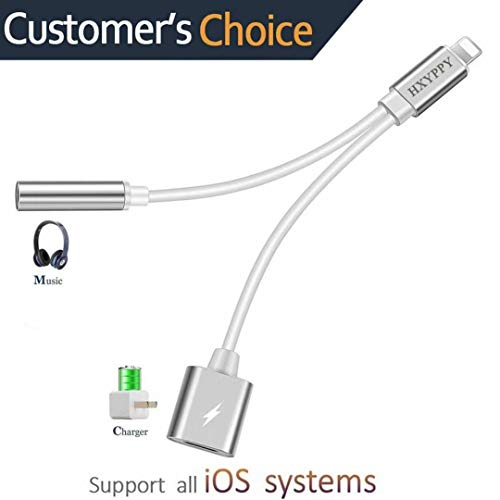 2 in 1 Adapter to Charger and Aux Earphones Stereo Jack,Dual Port Headphone Audio & Charge Adapter