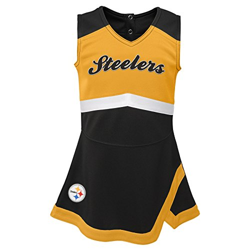 bdf8437ba07 Outerstuff NFL NFL Pittsburgh Steelers Infant Cheer Captain Jumper Dress  Black, 12 Months