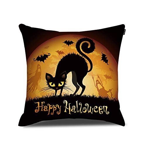 RUOAR Happy Halloween Decoration Scared Cat Pillow Cover Cushion Cover Halloween Home Decor Throw Pillow Cover 18 x 18 inch]()
