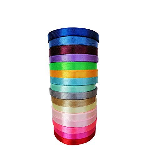 400 Yard 2/5 inch Wide Fabric Ribbon Silk Satin Ribbon Roll 16 Colors for DIY Crafts Arts, Bows Gift Wrapping, Floral Projects, Card Making, Party Wedding ()