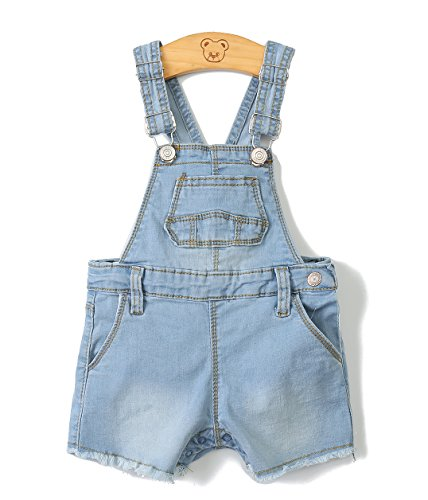 Kidscool Baby Girls/Boys Big Bibs Raw Edge Light Blue Summer Jeans Shortalls,Light Blue,12-18 Months