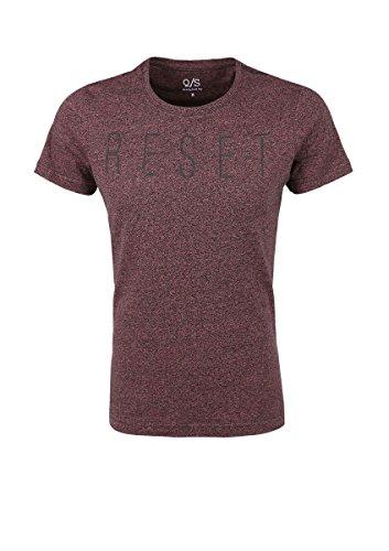 s. Oliver Herren T-Shirt Meliertes Statement-Shirt Dark Pink Gr. M
