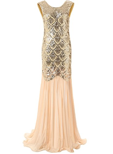 Bbonlinedress 1920s Long Sequins Gatsby Mermaid V-Back Vintage Prom Dresses Evening Party Gown Gold (M Party Costumes)
