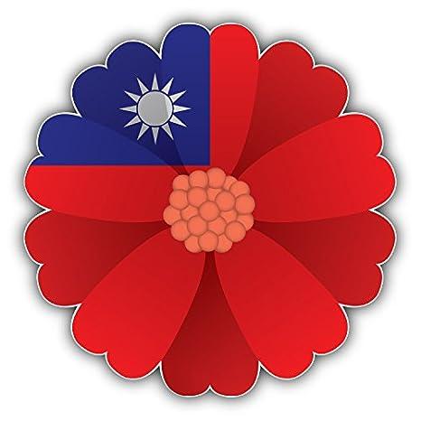 Taiwan Flag Flower Car Bumper Sticker Decal 5/'/' x 5/'/'