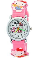 Pink Rubber Strap Resin Case Kids Digital Watches Hello Kitty Motif