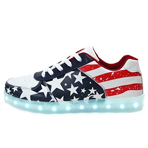 (présents:petite Serviette)junglest Blink Led Chaussures Enfant Adulte Baskets Unisexe Femme Homme Lumineuse Shoes Rouge Star 35-4