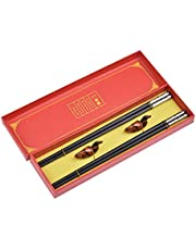 Quantum Abacus Black Metal Alloy Chopstick Set in Gift Box - 2 Pairs of Black Metal Chopsticks, 2 Chopstick Rests Made of Bamboo, Mod. SC-H-S2-ML-04