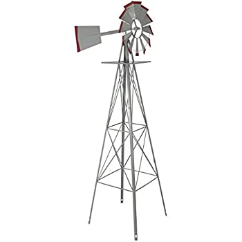 Exceptional 8u0027 Windmill Ornamental Garden Weather Vane Weather Resistant Silver And Red