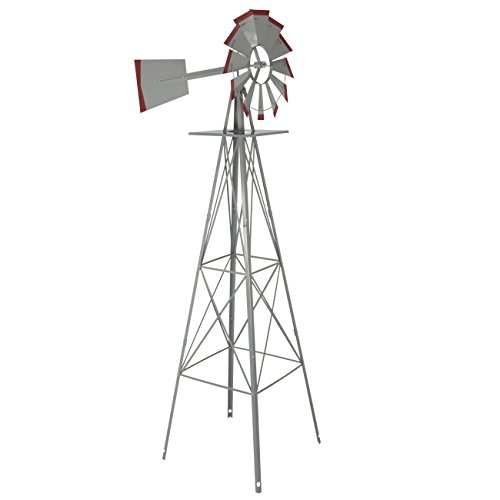 8' Decorative Windmill - 8' Windmill Ornamental Garden Weather Vane Weather Resistant Silver and Red