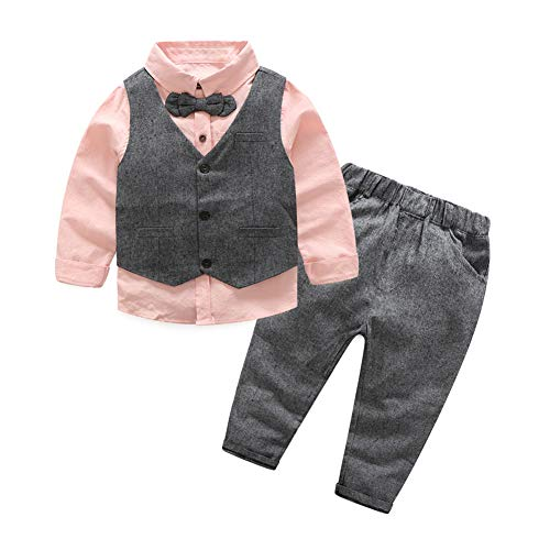 Baby Little Boys' Dressy 3 Pieces Cotton Shirt Tweed Vest Clothes Set Pink 140