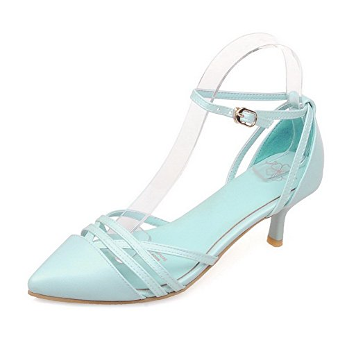 VogueZone009 Women's Pu Solid Buckle Pointed Closed Toe Kitten Heels Pumps Shoes Blue 3llmpwS