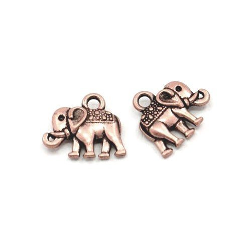 Packet of 10 x Red Copper Tibetan 14mm Charms Pendants (Elephant) - (ZX07400) - Charming Beads