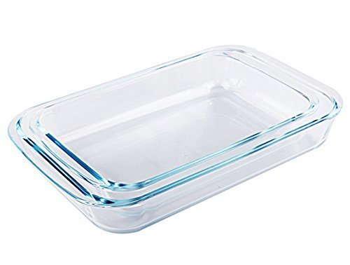 Tebery 2 Piece Clear Toughened Glass Baking Dishes, Oblong - 7'' x 11.5'' & 8'' x 13.5'' by Tebery