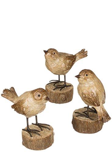 Standing Birds On Pedestal 3 Piece Resin Stone Decorative Ta