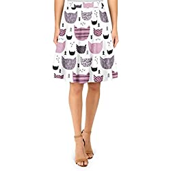 Inky Texture Cats A-Line Skirt - XL