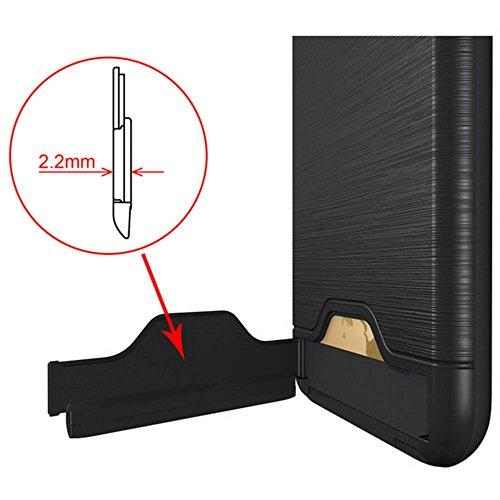 YHUISEN Nueva capa doble cepillado mate PC Armor + TPU resistente doble de la protección delgada cubierta de la caja plegable pata de cabra Ranura para tarjeta para el iPhone 6 Plus / 6S Plus ( Color  Black
