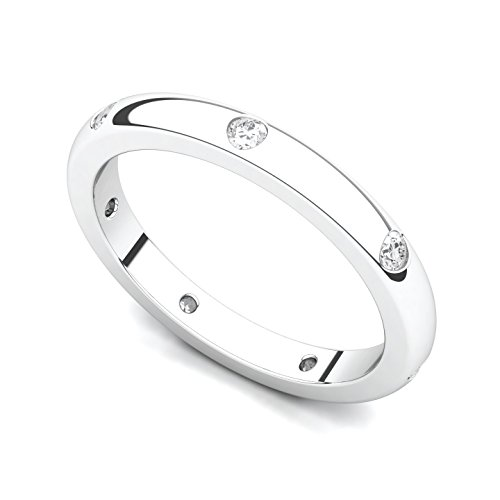 Platinum Bezel set Diamond Semi Eternity Wedding Band Ring (G-H/SI, 0.21 ct.), 7.5