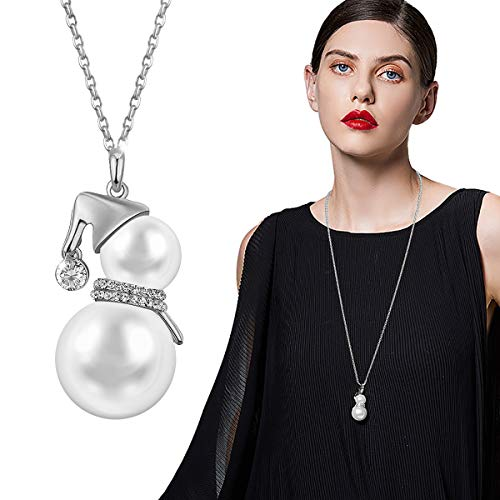 Wowanoo Pearl Snowman Necklace Layered Gourd Chain Women/Girls S]()