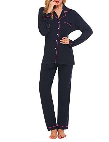 Ekouaer Women's 2 Pcs Casual Long Sleeve Sleeping Set with Pocket(Navy,Small)
