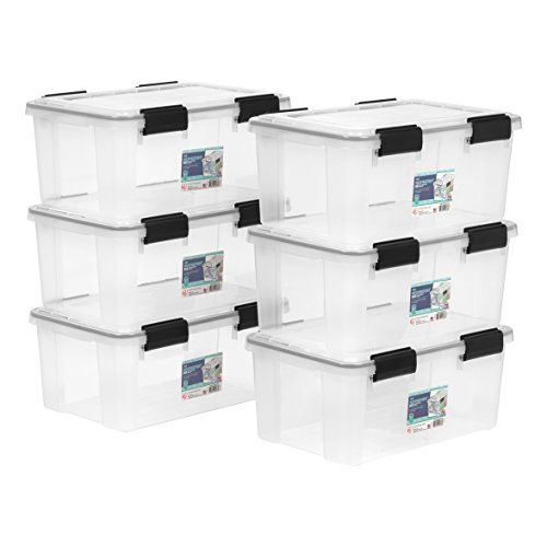 IRIS 19 Quart Weathertight Storage Box, 6 Pack, Clear Chips 25 Lb Case