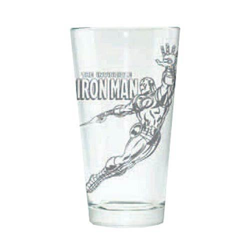 The Invincible Iron Man Hero Logo Etched Pint Glass