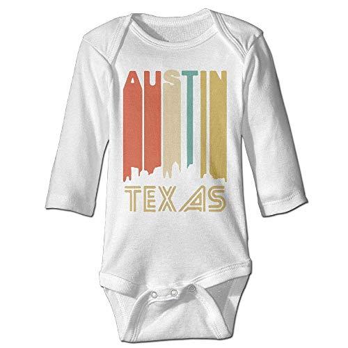 HJMY Newborn Baby Boys Girls Long Sleeve Baby Clothes Austin Texas Print Jumpsuit Onesie White -