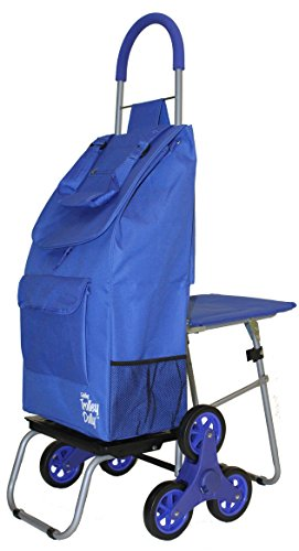 dbest Stair Climber Trolley Dolly with Seat, Blue Shoppin...