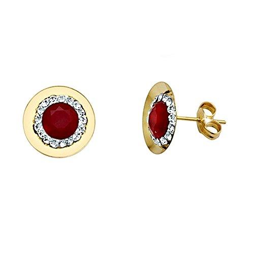Boucled'oreille 18k rubis d'or autour du centre de zircone cubique [AA5638]