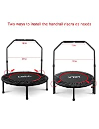 "38"" Mini Trampoline with Adjustable Handle, Indoor Exercise Trampoline for Kids Adults, Foldable Rebounder Trampoline Max. Load 300lbs"