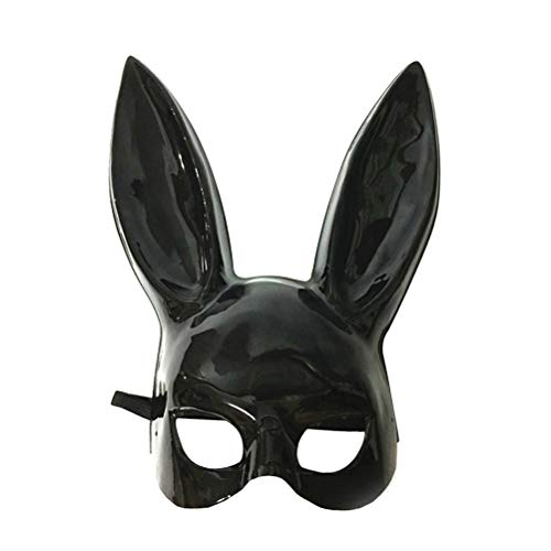 LUOEM Adult Bunny Mask Women's Masquerade Rabbit Mask Bunny Rabbit Mask for Birthday Party Easter Halloween Bar Costume Cosplay Accessory (Bright Black)]()