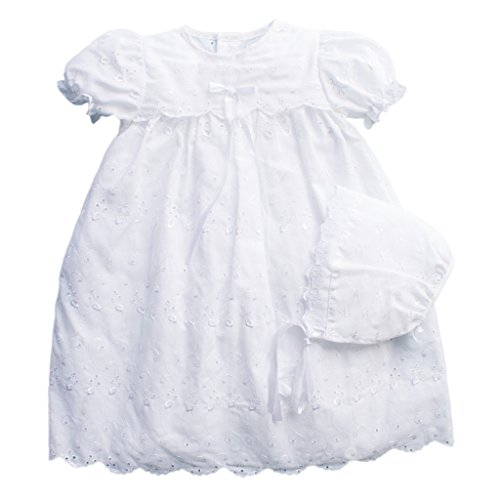 Cotton Gown Christening Heirloom (Petit Ami Christening Gown with Slip and Hat)