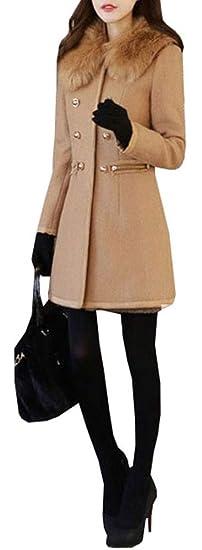b9ee1a39fddc Beautisun Mantel Damen Wollmantel Slim Fit Elegant Trenchcoat Warm Winter  Gefüttert Revers Lange Ärmel Übergangsmantel Zweireihig