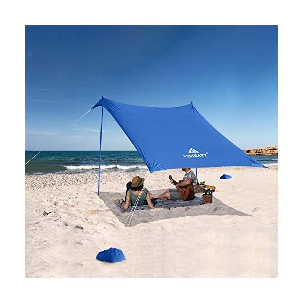 Forceatt Strandzelt Sonnenschutz, Pop-up Strandzelt mit UPF50+ UV-Schutz und 2 Stücke Aluminiumstangen, Außenschutz für…