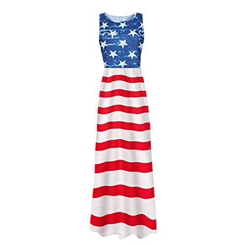 4th of July Women Fashion Casual Long Dress Flag Print Loose Dress Sleeveless Resort Summer Beach Party Dress (Of July Sale 4th Furniture)