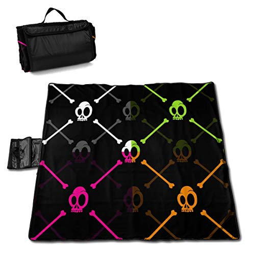 XKAWPC Halloween Skull and Bone Family Picnic Blanket with Tote 57''x59'' Beach Mat Sandproof and Waterproof for Picnic, Beaches, RVing and Outings]()