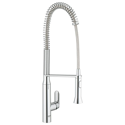 Grohe Single Handle Faucets - Grohe 32951000 K7 Semi-Pro Single-Handle Pull-Out Kitchen Faucet, Starlight Chrome