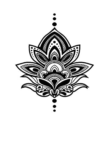 Amazon Com Temporary Tattoo Large Lotus Flower Yoga Inspired Large Body Art Tattoos Made In The Usa Beauty