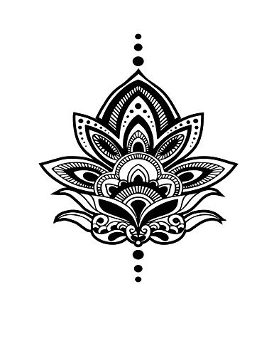 Temporary Tattoo - Large Lotus - Yoga Inspired Tattoo - Realistic Yoga Body Art - Set of 2 Temporary Tattoos, 3.75