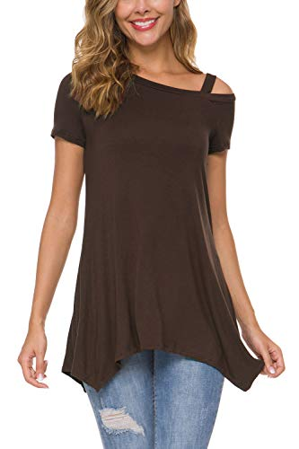 Zattcas Womens Tunic Tops,Summer Short Sleeve Cold Shoulder Tunic Tee Shirts for Women,Brown,Medium