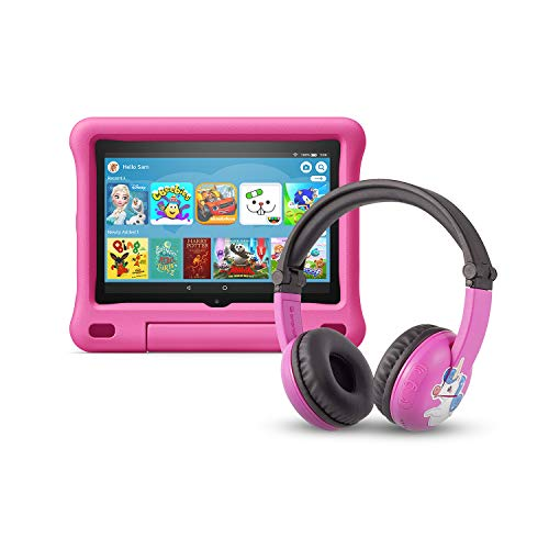 All-new Fire HD 8 Kids Edition tablet | 8″ HD display, 32 GB, Pink Kid-Proof Case + Made for Amazon Bluetooth BuddyPhones, PlayTime in Pink – Ages (3-7)