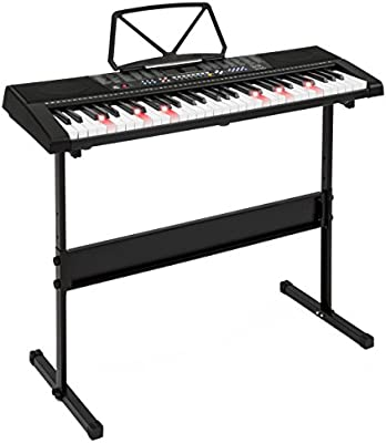 61 Keys Black Light Up LED Electronic Keyboard 3 Modes Stand Stool Headphone Set