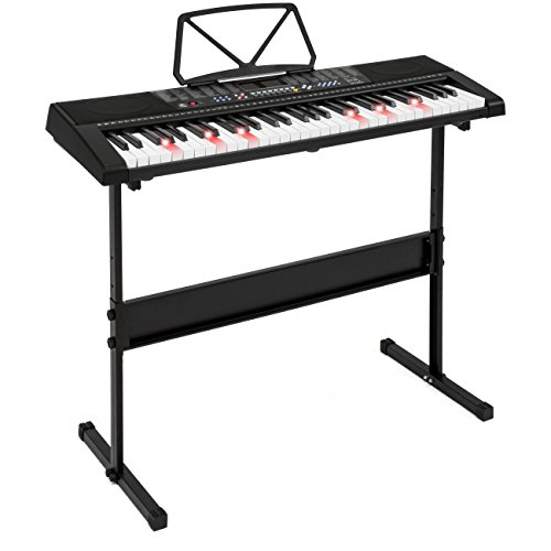 Best Choice Products 61-Key Teaching Electronic Keyboard w/Light-Up Keys, Adjustable H-Stand - Black by Best Choice Products
