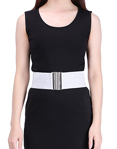 HDE Women's Elastic Cinch Belt with Column Style Buckle and Stretch Waist Band (Silver, XS-M)