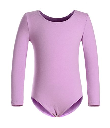 DANSHOW Girls' Team Basic Long Sleeve Leotard for Toddler Gymnastics Dance Ballet (4-6, Purple)