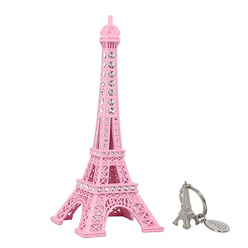 SICOHOME Eiffel Tower Cake Topper,7.0inch Pink Eiffel Tower Decor with Blings -