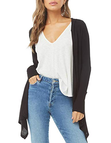 Womens Solid Colour Long Sleeve Draped Open Front Hooded Knit Sweater Cardigan with Pockets (Black, S)