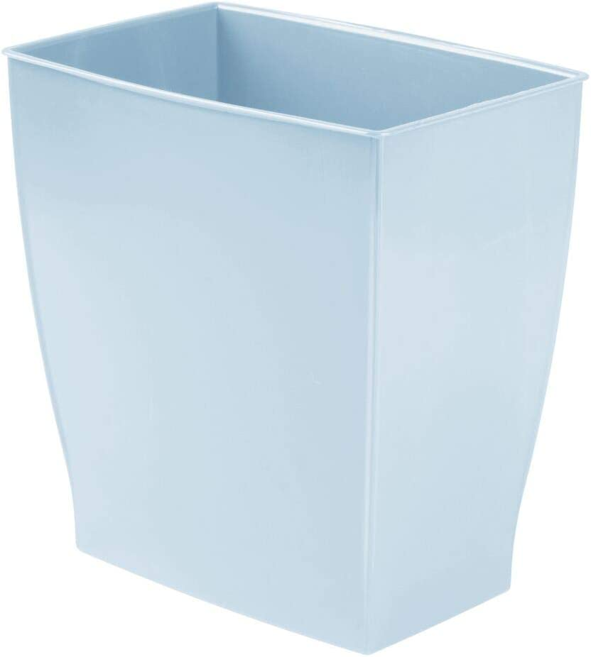 mDesign Rectangular Trash Can Wastebasket, Small Garbage Container Bin for Bathrooms, Powder Rooms, Kitchens, Home Offices - Shatter-Resistant Plastic - Light Blue