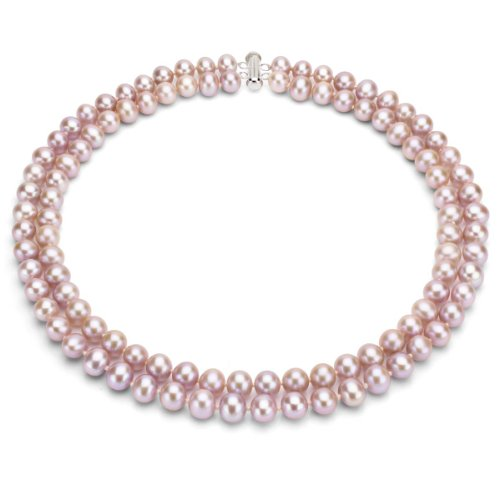 Sterling-Silver-2-rows-Pink-Freshwater-Cultured-High-Luster-Pearl-Necklace-17