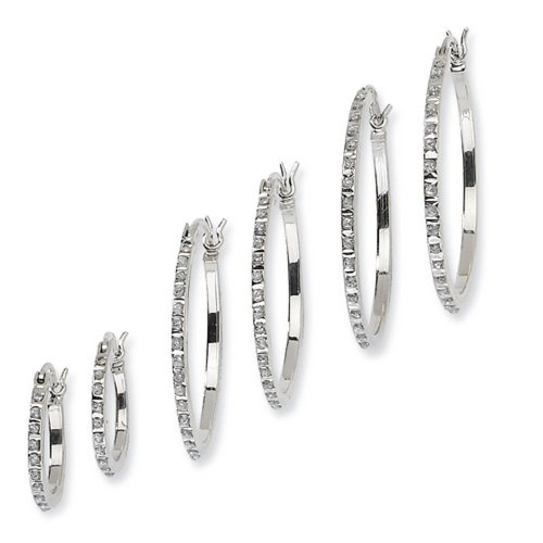 IceCarats Designer Jewelry Sterling Silver Diamond Mystique Oval Round Hoop Earrings Set