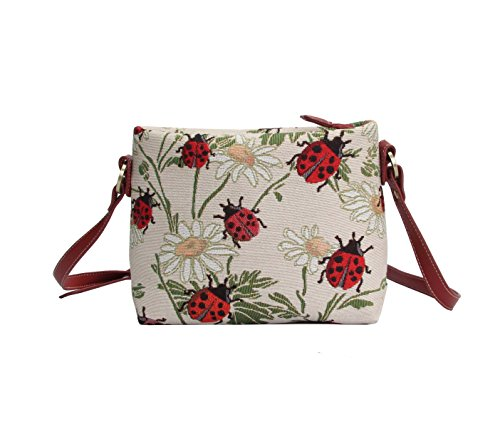 Signare Womens Tapestry Fashion Shoulder Handbag Across Body Bag in Ladybird Design